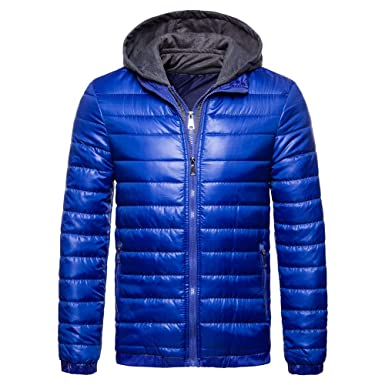 Vertvie Herren Übergangsjacke SteppjackeCasual Winterjacke mit Kapuze  gefälschte Zweiteilige Jacke Baumwollmantel(Blau, M) 04db744292