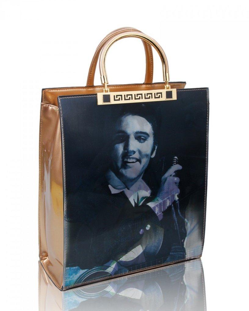 LeahWard Frauen-Patent Kunstleder Monroe Elvis Print Bild Handtaschen für College Schulreise Arbeit Einkaufen CW170161 (Elvis Burgund)