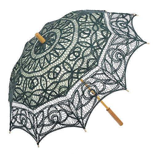 Remedios Battenburg Lace Parasol Umbrella Wedding Bridal Decoration Lake Green