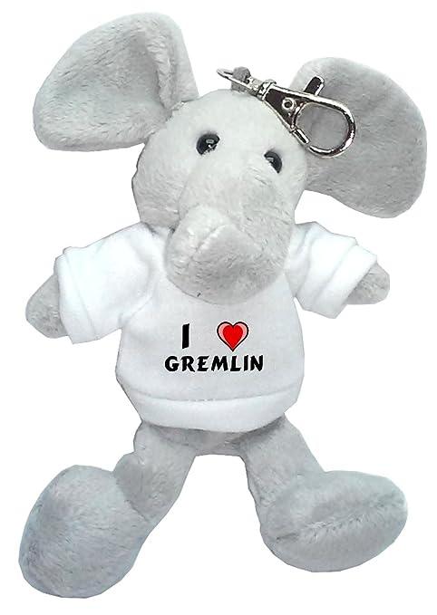 Elefante de peluche (llavero) con Amo Gremlin en la camiseta ...