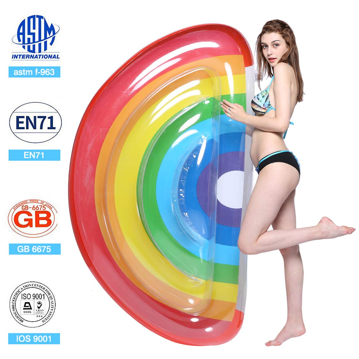 Pool Float Giant Waving Inflatable Pool Float for Adults Lie Down Summer Float Beach Toy (Rainbow)
