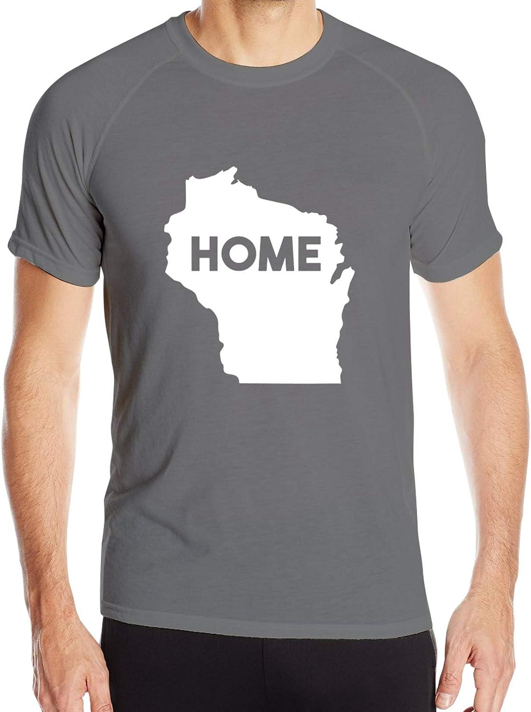 PLICQG Wisconsin is My Home Mans T-Shirt Athletic Shirt Quick-Drying Sport Shirt