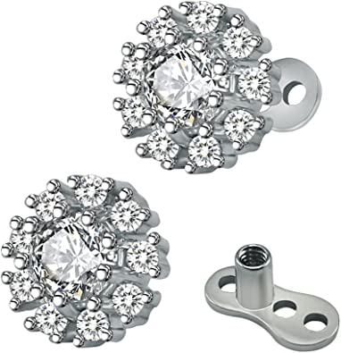 Kokoma 2Pcs 14G Cubic Zirconia Dermal Anchor Tops and Base Surgical Steel Microdermals Body Piercings Jewelry