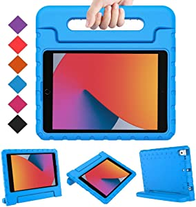 "BMOUO iPad 8th Generation Case for Kids,iPad 7th Generation Case,iPad 10.2 Case 2020/2019, Shockproof Light Weight Convertible Handle Stand Kids Case for New iPad 10.2"" 2020 Latest Model, Blue"