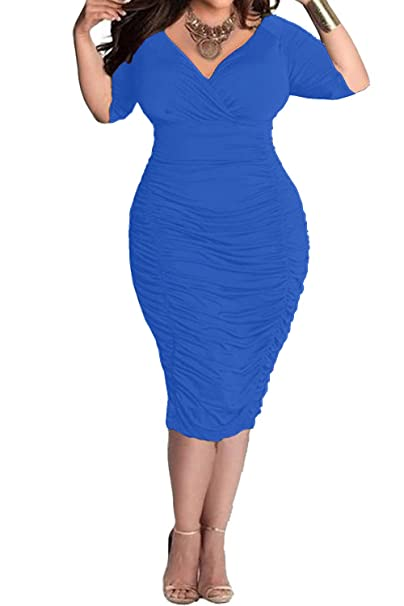 POSESHE Womens Plus Size Deep V Neck Wrap Ruched Waisted Bodycon Dress (L 746cfb0150