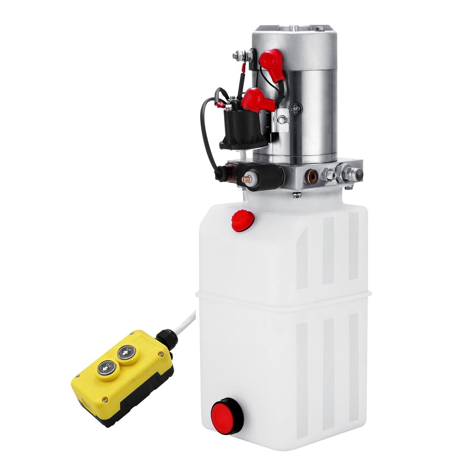 Happybuy Hydraulic Pump 12V DC Single Acting Hydraulic Power Unit 8 Quart Plastic Tank Hydraulic Pump Power Unit for Dump Trailer Car Lifting (8 Quart Single Acting Plastic)