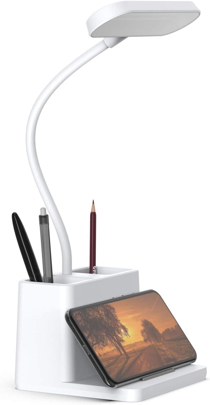 LED Desk Lamp with Pen Holder, AXX Desk Light for Computer/Desktop - White, Rechargeable, Eye-Caring, Flexible Gooseneck - Bedside Table Lamp for Reading, Small Study Lamp for Kids, Home, Office, Dorm