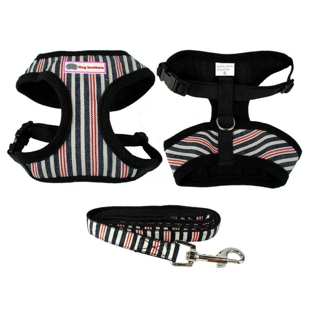 B-Creative Small Dog Chest Plate Harness&Leads Soft Cotton Stripes Pet Puppy Leash