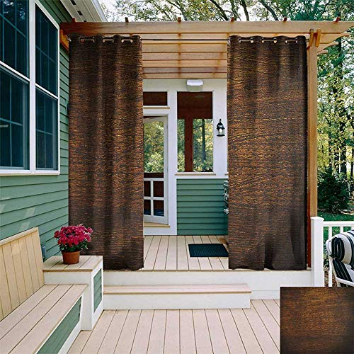leinuoyi Wooden, Porch Curtains Outdoor Waterproof, Old Vintage Antique Timber Oak Background Rustic Floor Artisan Photo Print, Balcony Curtains W72 x L96 Inch Chestnut and Brown