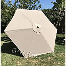 """BELLRINO DECOR Replacement LIGHT COFFEE / TAN """" STRONG & THICK """" Umbrella Canopy for 9ft 6 Ribs LIGHT COFFEE / TAN (Canopy Only)"""