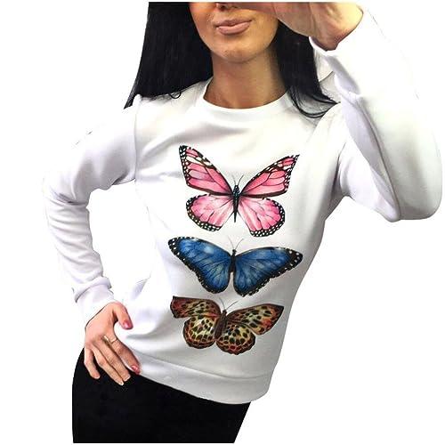 Mujer camisa de manga larga, Yannerr ocio moda cuello redondo de mariposa Blusa impresa tops