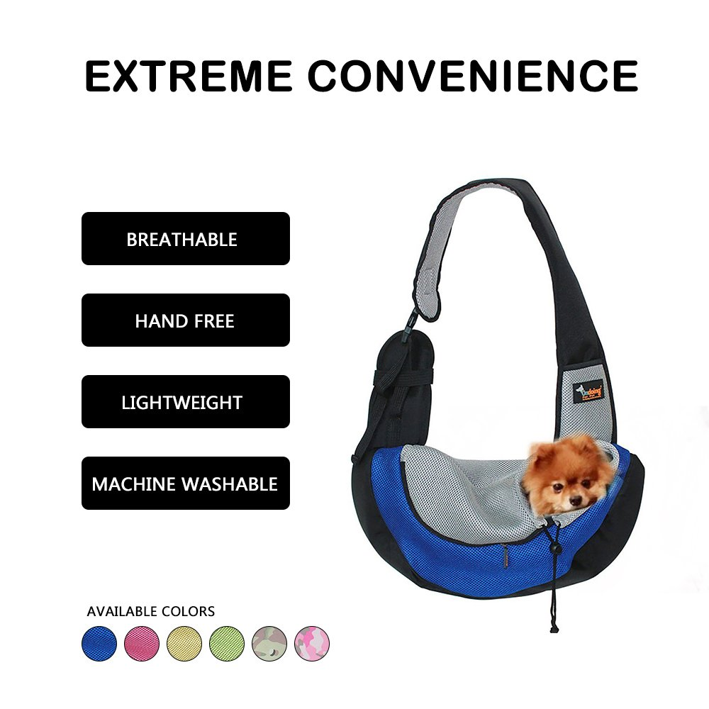 Ondoing Travel Pet Carrier Waterproof Lightweight Adjustable with Oxford Fabric Pet Shoulder Bag Soft Outdoor Pet Messenger Bag for Little Puppy Kitty(4828 cm) (Blue)