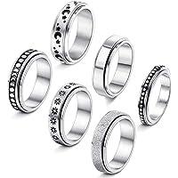 Casiler 6 stks Rvs Spinner Ring voor Vrouwen Fidget Band Ringen Maan Ster Zand Blast Afwerking Ring Set voor Stress…
