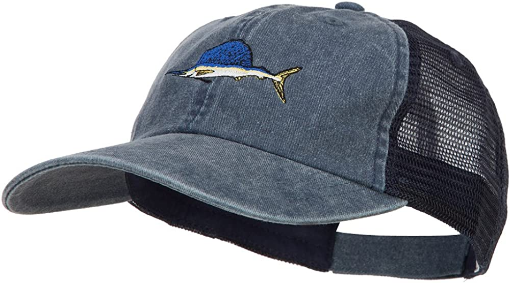 Swordfish Embroidered Washed Trucker Cap