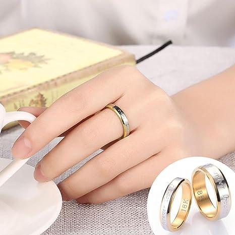 34ac642a3475 Forever Love parejas amante del anillo clásico de titanio acero inoxidable  compromiso boda de San Valentín aniversario grabado banda ...