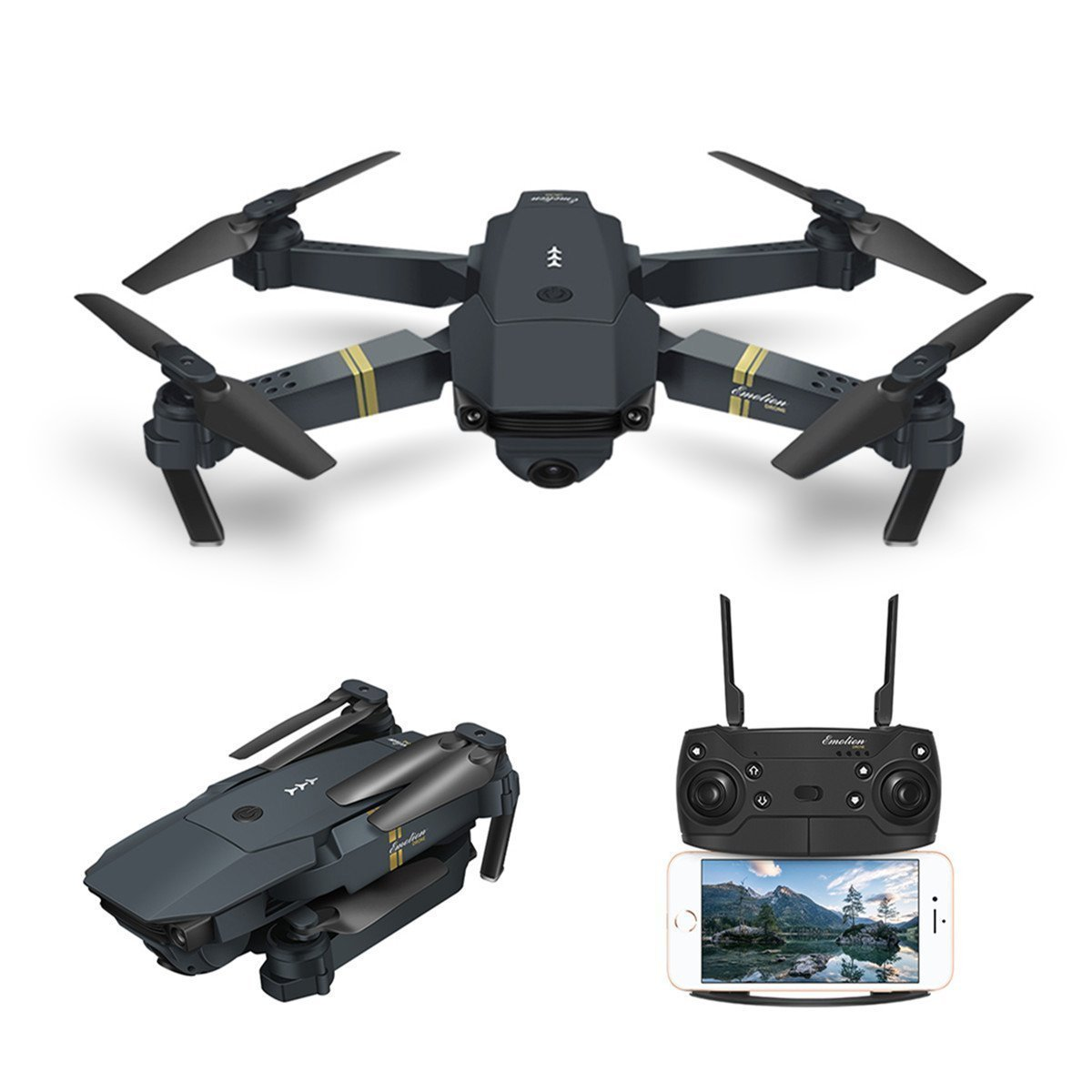 Quadcopter Drone with Camera Live Video, EACHINE E58 WiFi FPV Quadcopter with 120° Wide-Angle 720P HD Camera Foldable Drone RTF - Altitude Hold, One Key Take Off/Landing, 3D Flip, APP Control by EACHINE