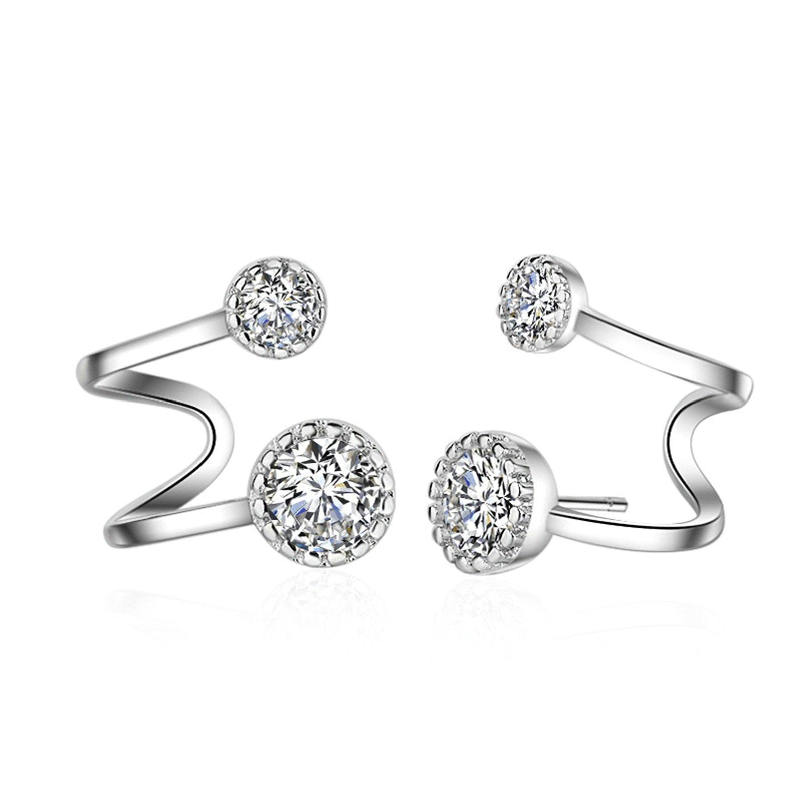 Gnzoe s925 Sterling Silver Fashion Earings Crystal Ear Jackets CZ Ear Clips Stud Earrings 1Pair