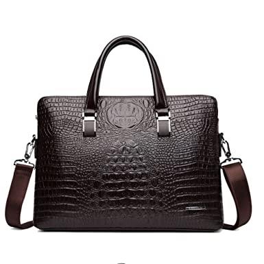 "3a275cb4e2 MERRYHE Hommes PU Business Ordinateur Portable Crocodile Grain 14""  Porte-documents Satchel Sac Vintage"
