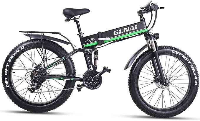 GUNAI 26 Pulgadas Bicicleta eléctrica de montaña,1000W Batería 48V E-Bike Sistema de Transmisión de 21 Velocidades con Frenos de Disco con Tres Modos de Trabajo: Amazon.es: Deportes y aire libre