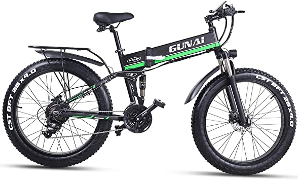 GUNAI 26 Pulgadas Bicicleta eléctrica de montaña,1000W Batería ...