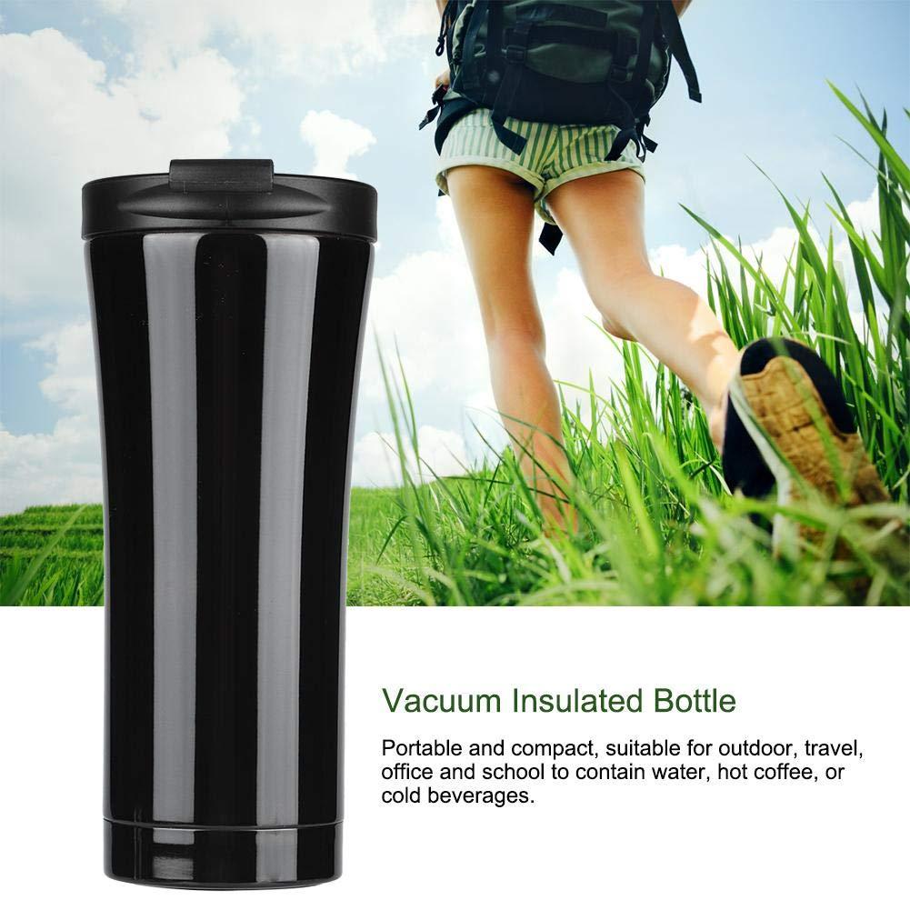 Botella de agua t/érmica 500ML Black Acero Inoxidable De Doble Pared Con Aislamiento Termo Botella Vac/ío
