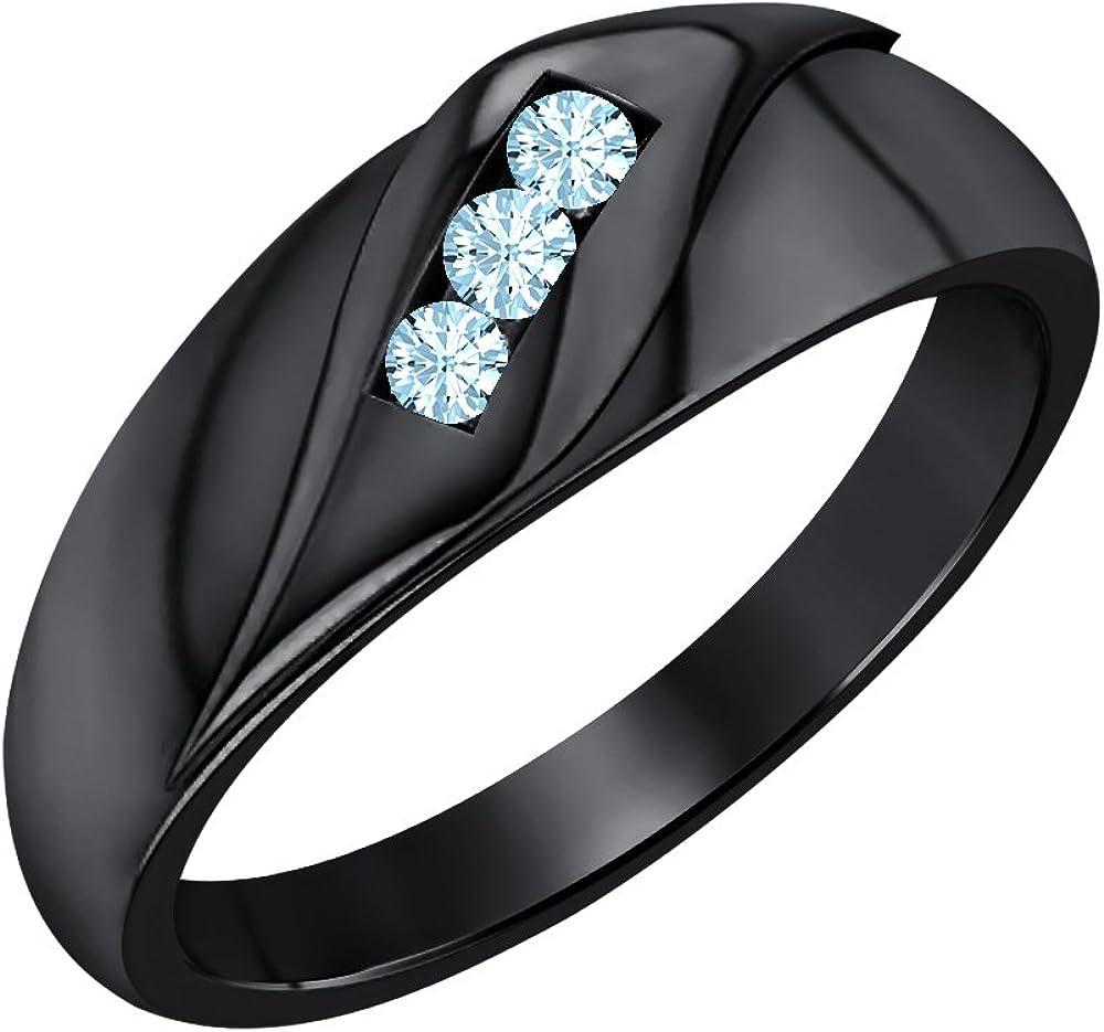 SVC-JEWELS 14K Black Gold Plated 1.65ctw Round Aquamarine Mens Wedding Three Stone Anniversary Band Ring