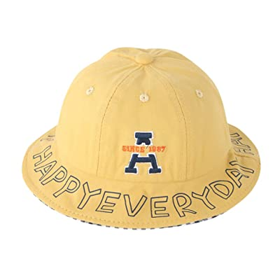 Sttech1 Fisherman Hat for Children, Letter Printed Edge Sunscreen Cap Outdoor Hunting Hats Beach Sun Caps Yellow: Clothing