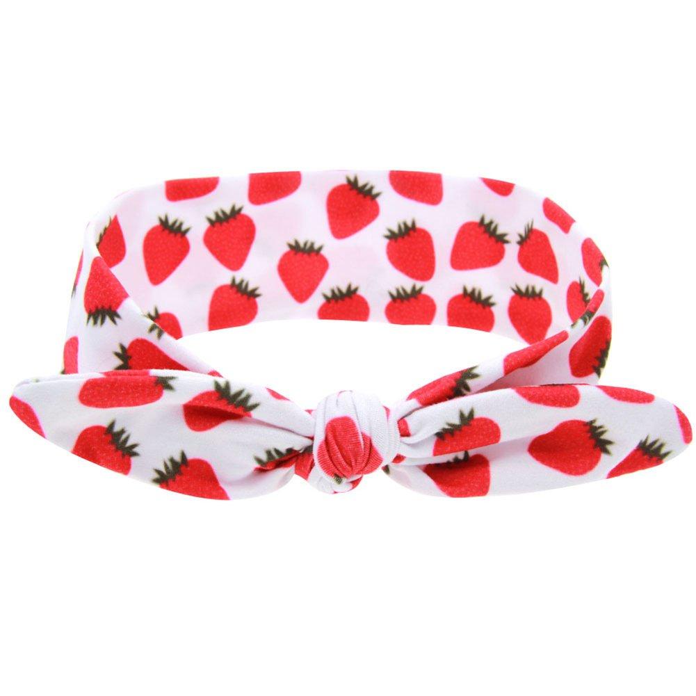 Colorido Strawberry Papaya Kiwi Fruit Lemon Print Hairband Knot Cross Headband Headwear size Medium (Strawberry)