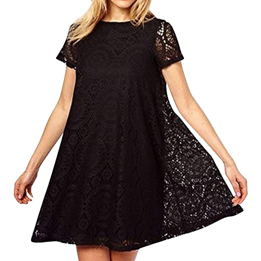 d18febac95c519 Amazon.com: Sunhusing Women Stylish Sexy Large Size Solid Color  Short-Sleeve Round Neck Openwork Lace Patchwork Mini Dress: Clothing