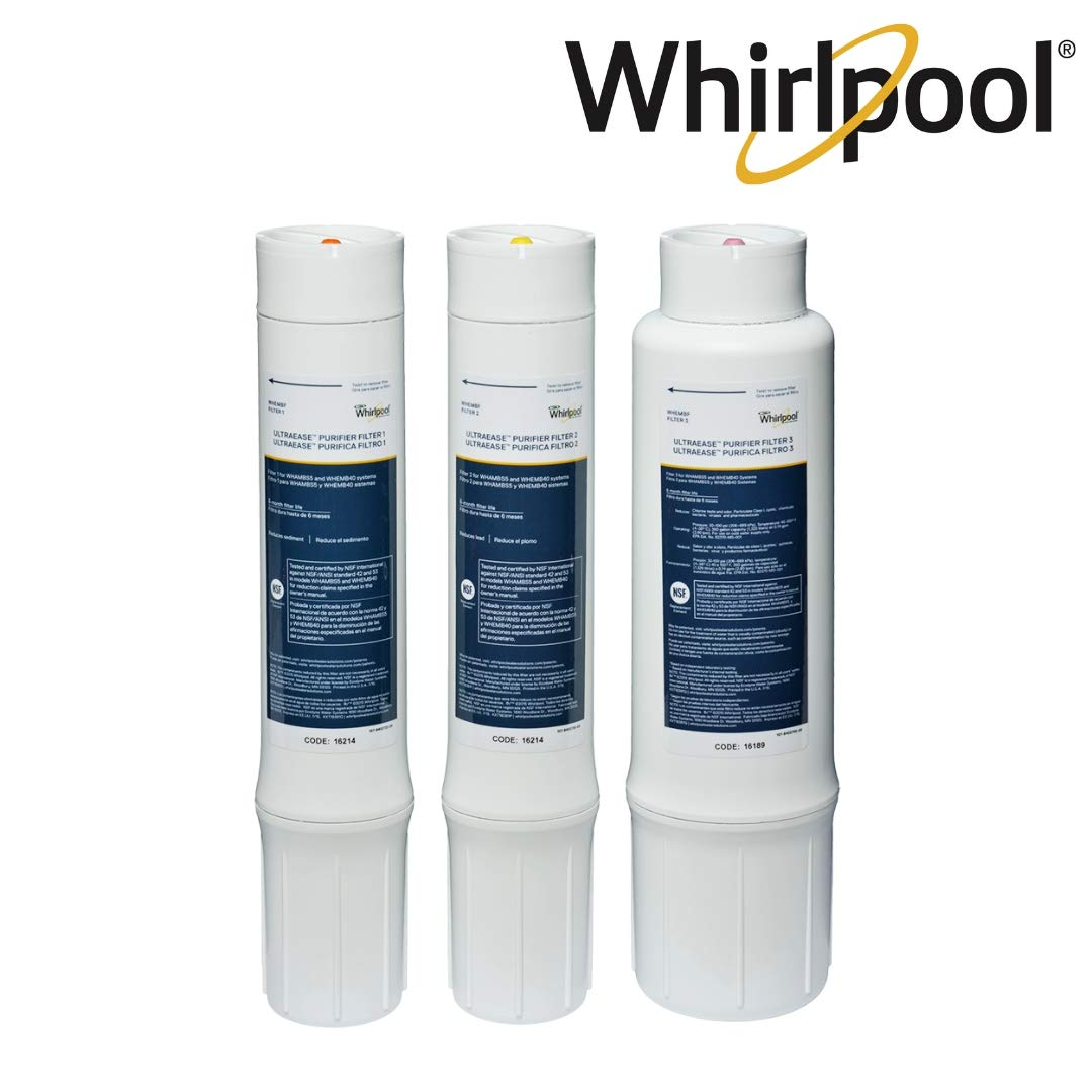 Whirlpool WHEMBF Purifier Water Fits WHAMBS5 & WHEMB40 Filtration Systems | Extra Long Life | Easy to Replace UltraEase Filter Cartridges | 1 Set, Single Unit, White by Whirlpool