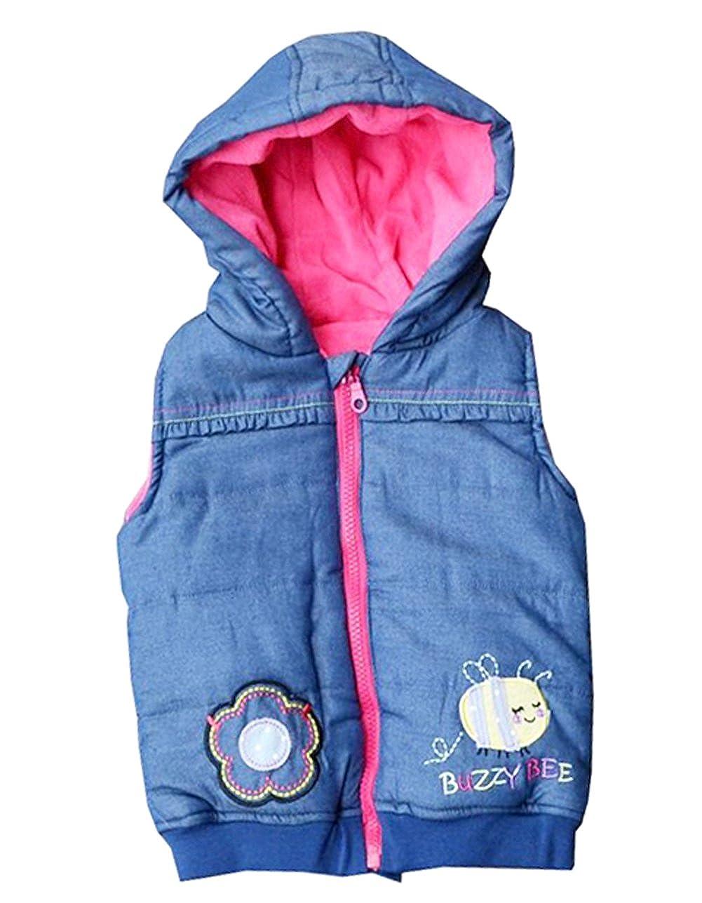 Infant Baby Girls Vest Coat Hoodied Warn Outerwear Bee Tops