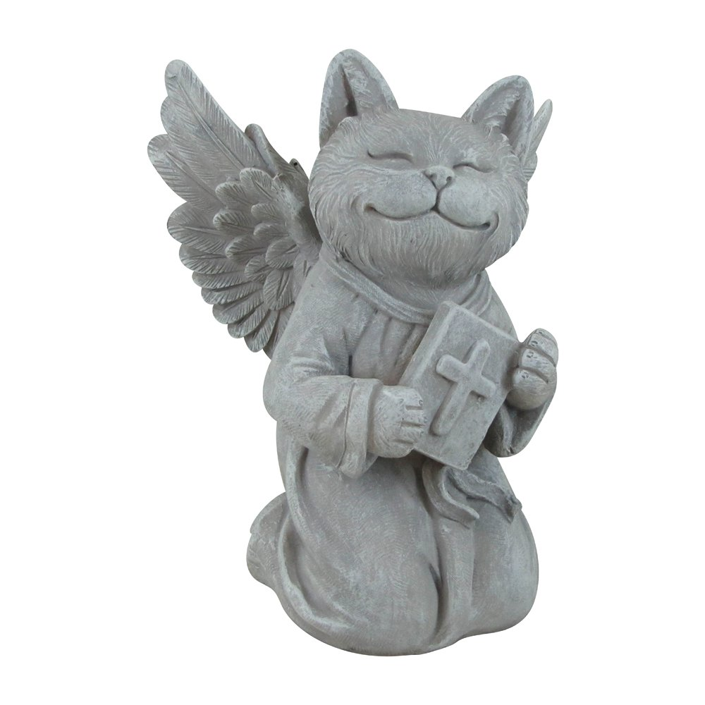 Comfy Hour Resin Memorial Cat Angel Holding A Bible Pet Statue for Your Home Or Garden Memory of Cat's Bereavement