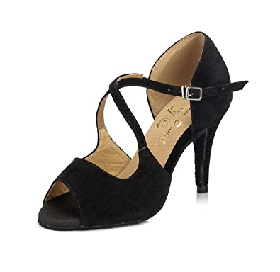 9919709d73cd9e MINITOO Ladies TH050 Stiletto High Heel Black Suede Leather Wedding  Ballroom Latin Taogo Dance Sandals 2