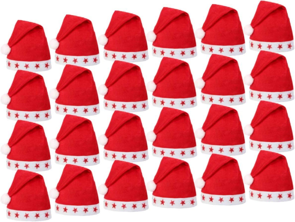 Lot de 144 Bonnets de Noel wm-15 Lumineux avec LED Chapeau de P/ère No/ël pour Adultes Rouge et Blanc en Feutre avec Pompon Taille Unique Accessoire F/ête Homme et Femme
