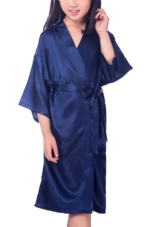12d1d1d0a7 Amazon.com  Admireme Kids  Satin Kimono Robe Bathrobe Silk Nightgown for Spa  Party Wedding Birthday  Clothing