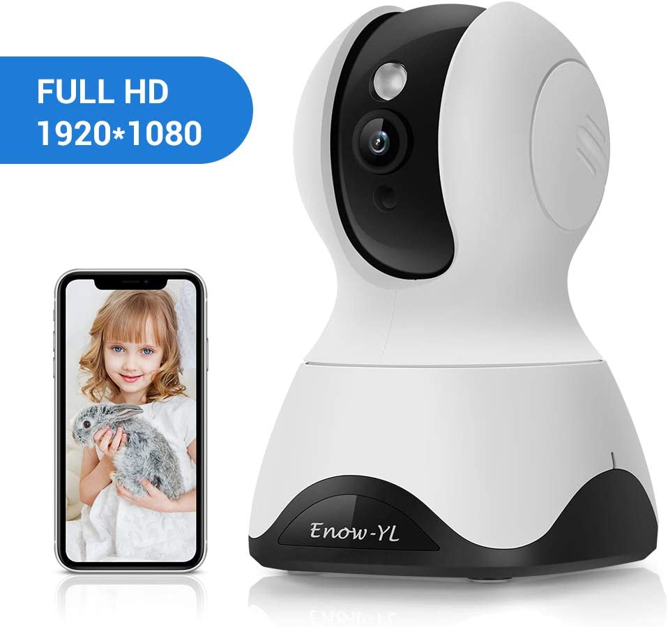 Home Security IP Camera, Enow-YL Wireless 2MP Surveillance PTZ Indoor 2.4G WiFi Dome Camera with Motion Detection, Night Vision, Two Way Audio for Baby Pet Nanny Monitor, Work with Alexa