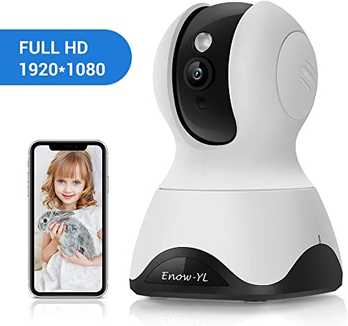 Home Security Camera, Enow-YL Baby Monitor Wireless Pet IP Camera 1080P HD Indoor Wifi Dome Camera with Motion Detection Night Vision 2 Way Audio Cloud Service, Work with Alexa White