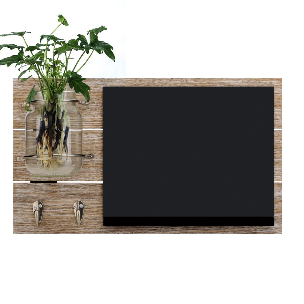 Round Rich Chalkboard with Mason jar with 2 Key Hooks for Wall - Rustic Wall Décor by Round Rich