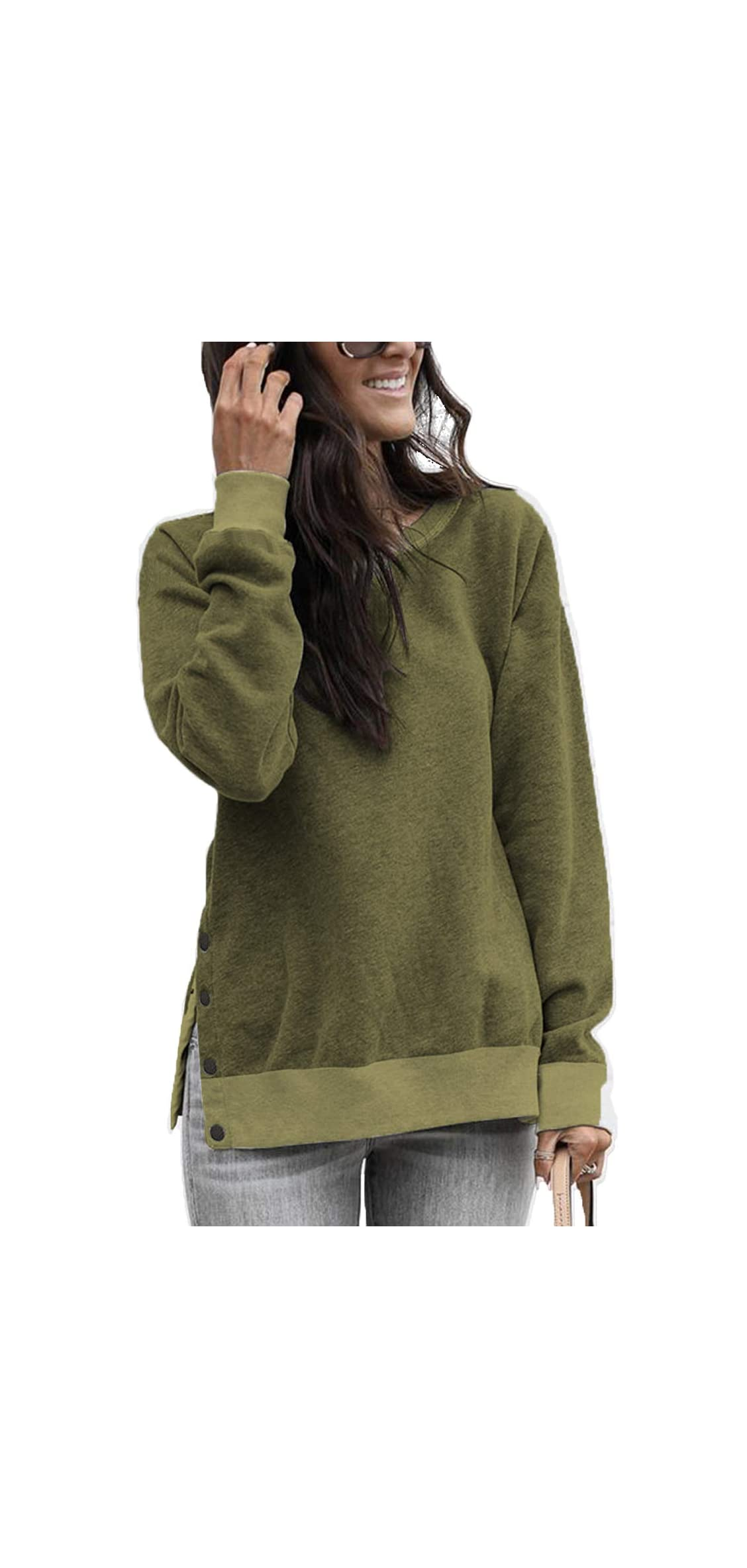 Womens Long Sleeve Casual Crew Neck Pullover Soft Fall