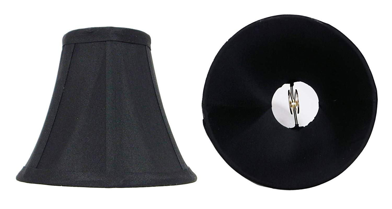 Mestar Decor Set of 2 Black Mini Bell Lamp Shade Lampshade 5''H Clip On Style for Chandeliers Wall Sconces Accent Lamps Beautiful Lighting Decor - Black (2pcs)