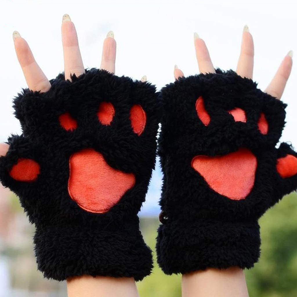 Rtengtunn Frauen-M/ädchen-reizende Katzenpfoten-Greifer-Starke halbe Fingerlose Handschuhe flaumiger Pl/üsch-Handschuh Gr/ün