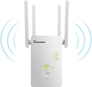 WiFi Booster 1200Mbps WiFi Extender 5GHz &2.4, Covers 1500Sq.ft, WiFi Range Repeater for Home, 4 Working Modes Wi-Fi Router Extender White