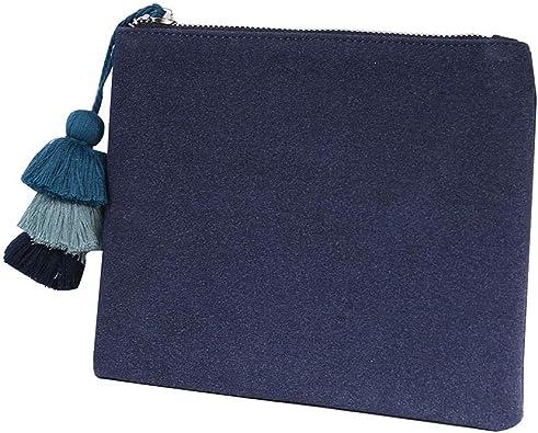 clutch bag Large Flat Dark Navy Suede Suedette