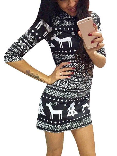 YOINS Damen Christmas Kleider Weihnachten Geschenk Winter Langarmshirt Sexy  Kleid Kurze Minikleid  Amazon.de  Bekleidung c50baad334