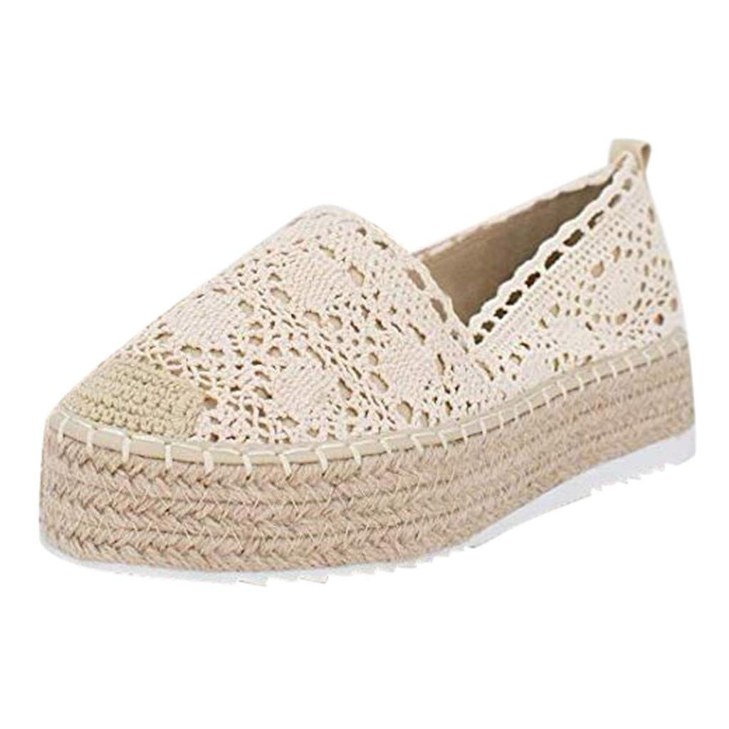 HENWERD Women's Hollow Platform Casual Shoes Solid Color Breathable Wedge Espadrilles (Beige,5 US)