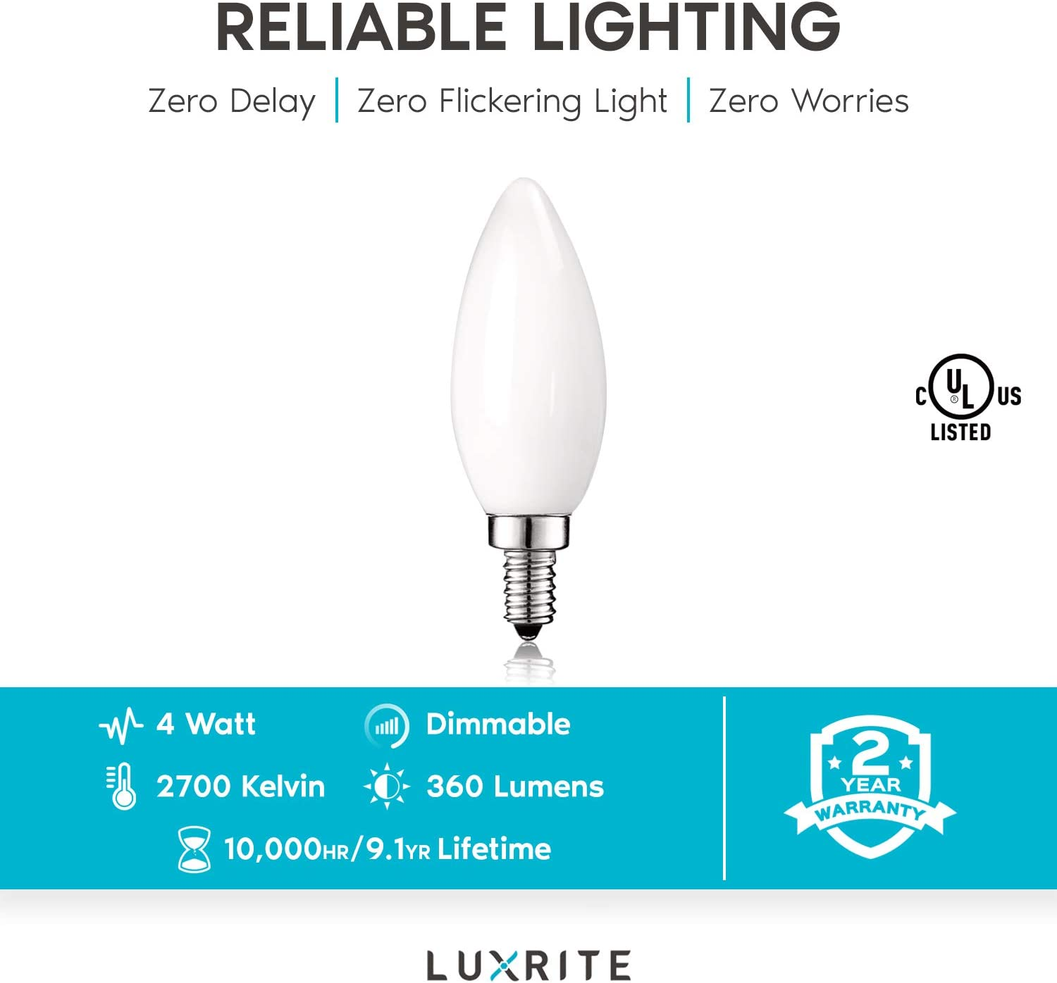 360 Lumens 2700K Warm White UL Listed Luxrite 4W Frosted Candelabra LED Bulbs Dimmable E12 LED Bulb 40W Equivalent 12 Pack Torpedo Tip Glass LED Candle Light Bulbs