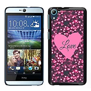 HTC Desire D826 , JackGot - Impreso colorido protector duro espalda Funda piel de Shell (Texto corazón rosado Negro Sparkle)