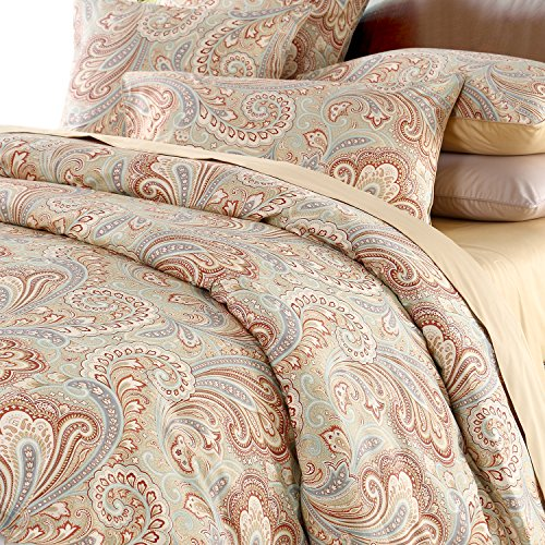 Duvet Cover Set Paisley Bedding Design 800 Thread Count 100% Cotton 3Pcs ,Queen Size,Khaki (Comforter Paisley Queen)