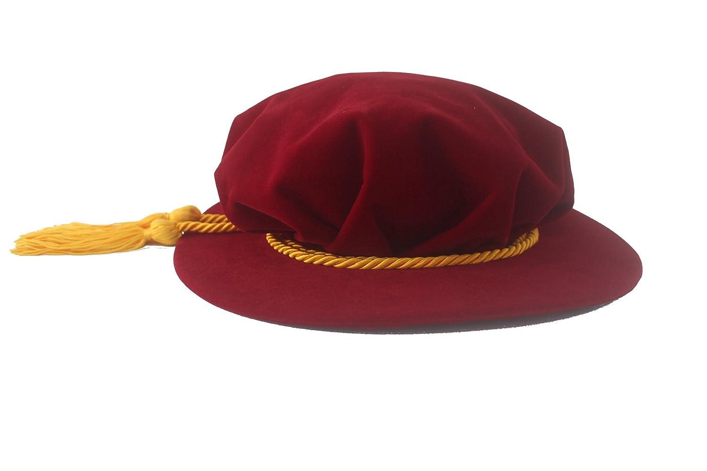 Red Velvet Tudor Beefeater Style Gold Tassel Bonnet - DeluxeAdultCostumes.com