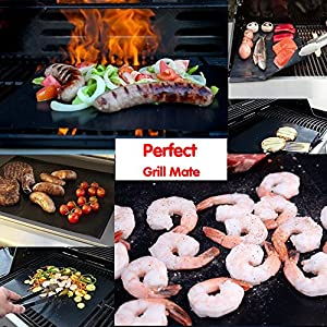 4 PCS Grill Mat-100% Non-stick BBQ Grill & Baking Mats - FDA-Approved, PFOA Free-Heat Resistant Non-stick Reusable Dishwasher Safe Barbecue Mats,Works on Gas, Charcoal, Electric Grills (Black,Gold)